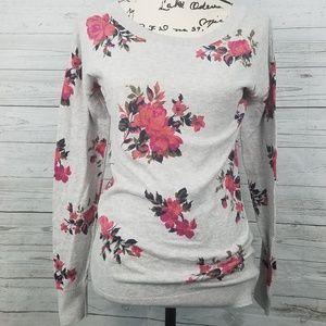 Arizona Jean Co Gray Sweater w/ Pink Floral Print